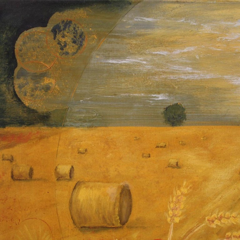 20th Century Oil on Canvas Modern French Painting View of a Cornfield, 1980 For Sale 5