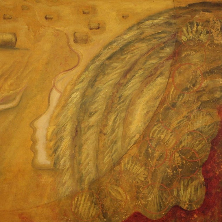 20th Century Oil on Canvas Modern French Painting View of a Cornfield, 1980 For Sale 1