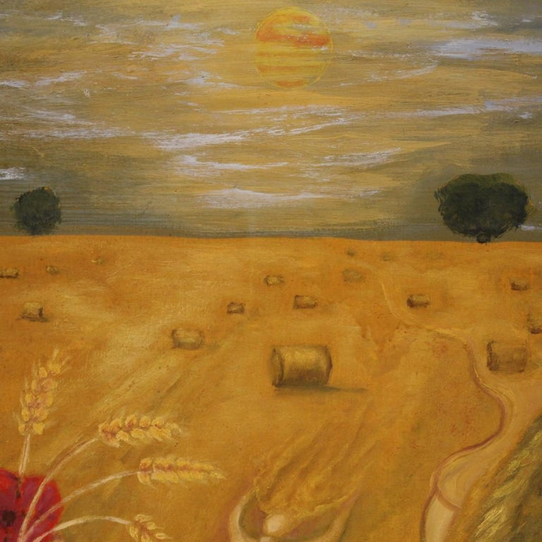 20th Century Oil on Canvas Modern French Painting View of a Cornfield, 1980 For Sale 2