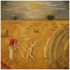 20th Century Oil on Canvas Modern French Painting View of a Cornfield, 1980