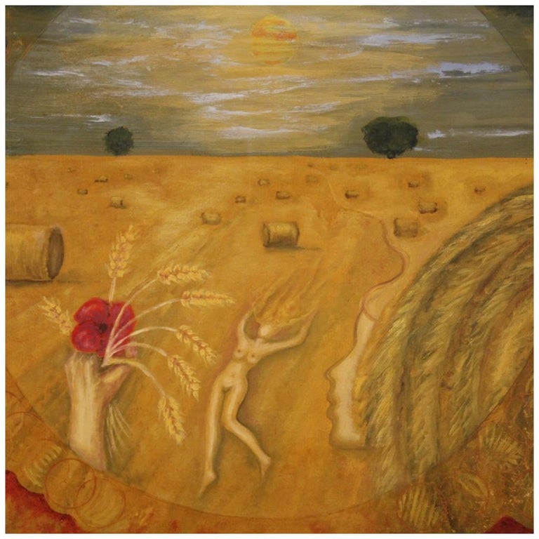 20th Century Oil on Canvas Modern French Painting View of a Cornfield, 1980 For Sale
