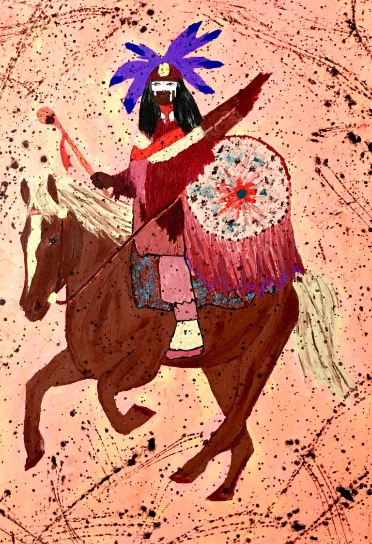 20th century oil on canvas painting by, Barbara Smith. This vibrant artist-signed original piece of art features vibrant and textured hues with a pink ground. The depiction of the Native American Indian on horse is executed with great detail. Signed
