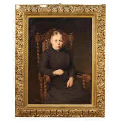 20th Century Oil on Canvas Signed and Dated Belgian Portrait Painting, 1920