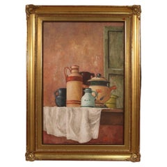 20th Century Oil on Canvas Signed and Dated Italian Still Life Painting, 1968