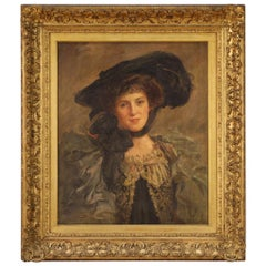 20th Century Oil on Canvas Signed English Girl Portrait Panting, 1900