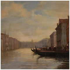 20th Century Oil on Canvas Signed Italian Painting View of Venice, 1986