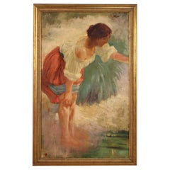 20th Century Oil on Canvas Signed Italian Young Peasant Woman Painting, 1920