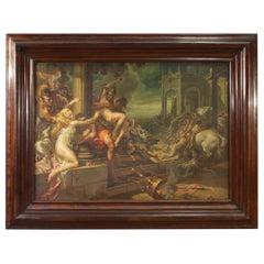 20th Century Oil on Canvas Signed Mattia Traverso Italian Painting, 1938