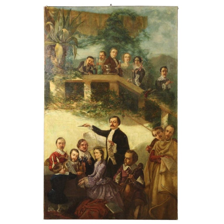 20th Century Oil on Canvas Spanish Painting Concert in Garden with Characters For Sale