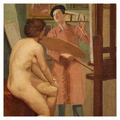 20th Century Oil on Canvas Spanish Painting Interior Scene Painter, 1950