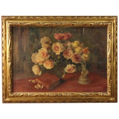 20th Century Oil on Canvas Still Life Italian Signed Painting Vase with Flowers
