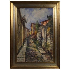 20th Century Oil on Cardboard Italian Impressionist Style Landscape Painting