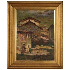 20th Century Oil on Cardboard Italian Signed Landscape Painting, 1960