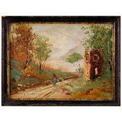 20th Century Oil on Masonite Italian Impressionist Signed Landscape Painting