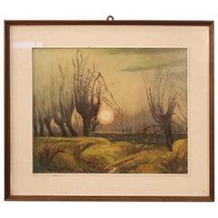 20th Century Oil on Masonite Italian Signed Landscape Painting, 1960