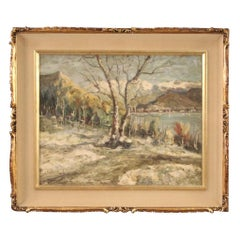 20th Century Oil on Masonite Italian Signed Landscape Painting Lake Maggiore