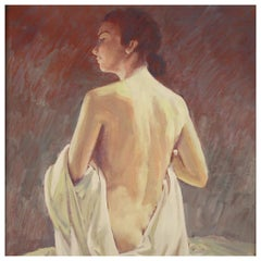 20th Century Oil on Masonite Signed and Dated Italian Nude Female Painting, 1975