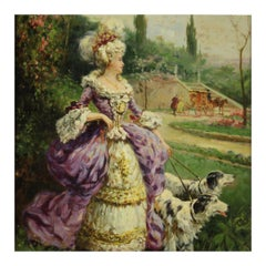 20th Century Oil on Panel Italian Painting Lady Walking in the Park, 1950