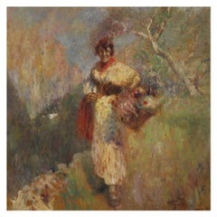 20th Century Oil on Panel Italian Painting Landscape with Female Figure, 1950