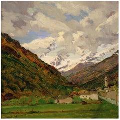 20th Century Oil on Panel Italian Painting Mountain Landscape, 1970