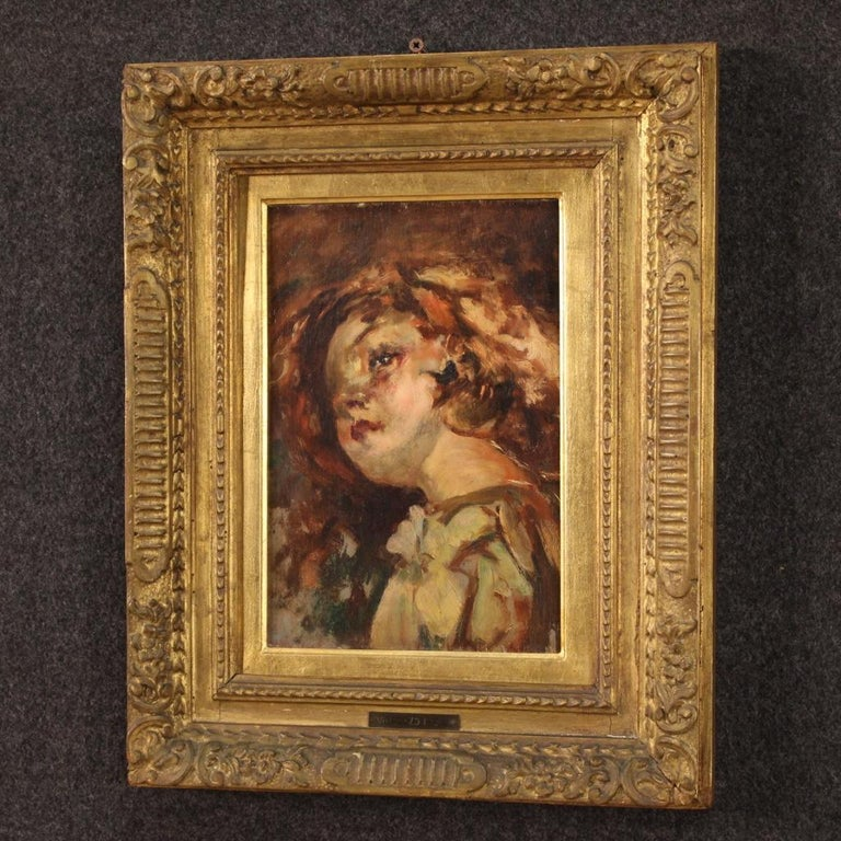 20th Century Oil on Panel Italian Painting Portrait of a Little Girl, 1910 For Sale 4