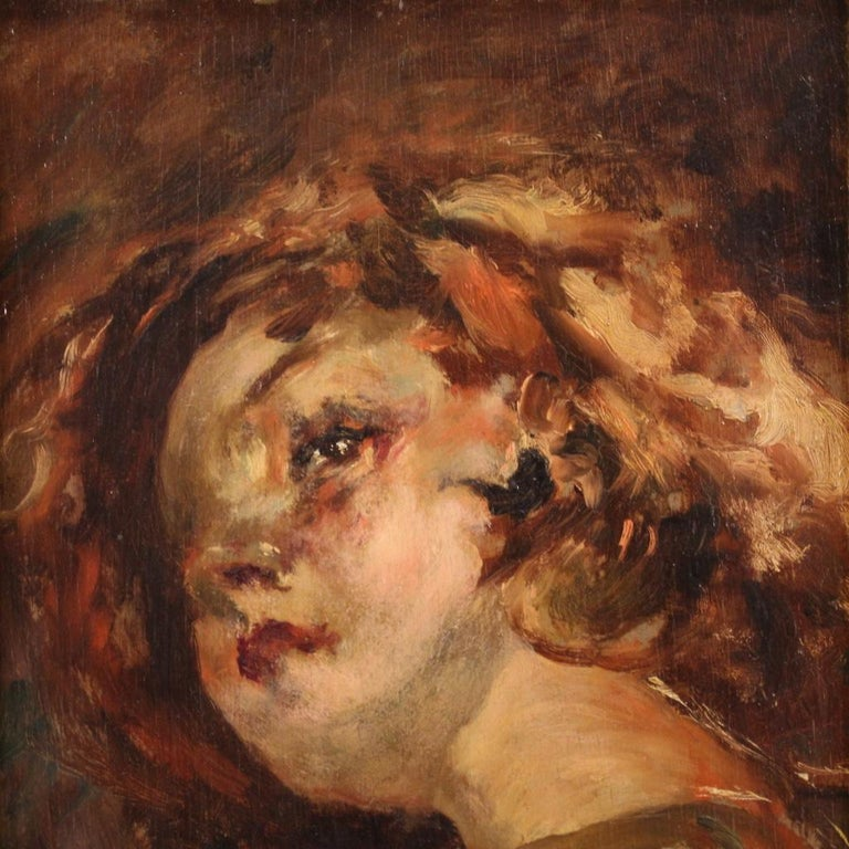 20th Century Oil on Panel Italian Painting Portrait of a Little Girl, 1910 For Sale 5