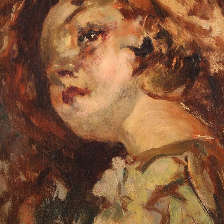 20th Century Oil on Panel Italian Painting Portrait of a Little Girl, 1910 For Sale 6