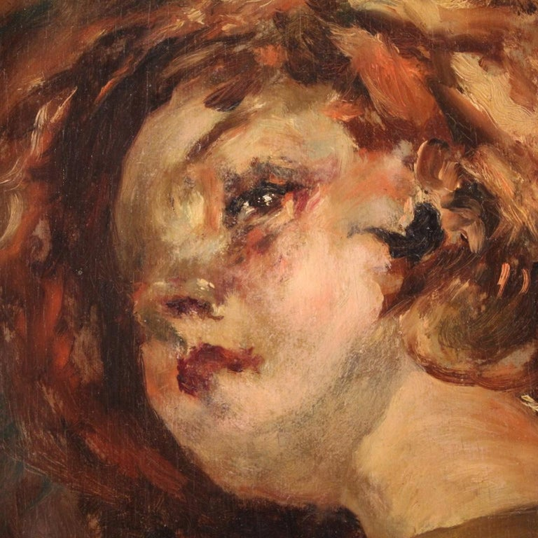 20th Century Oil on Panel Italian Painting Portrait of a Little Girl, 1910 For Sale 1