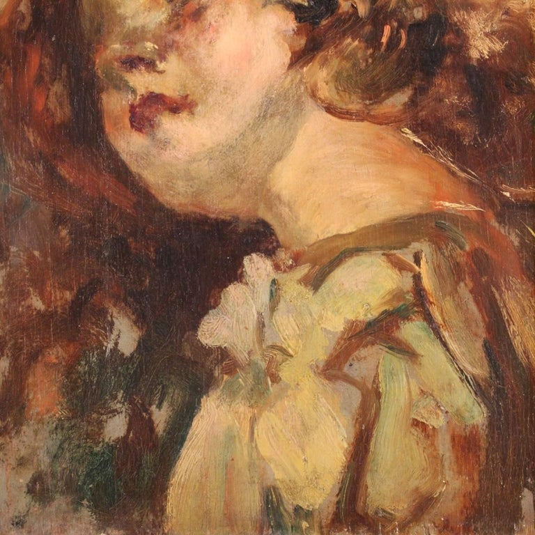20th Century Oil on Panel Italian Painting Portrait of a Little Girl, 1910 For Sale 2
