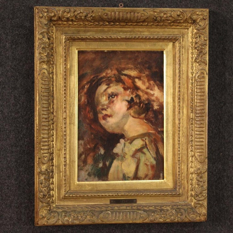20th Century Oil on Panel Italian Painting Portrait of a Little Girl, 1910 For Sale 3