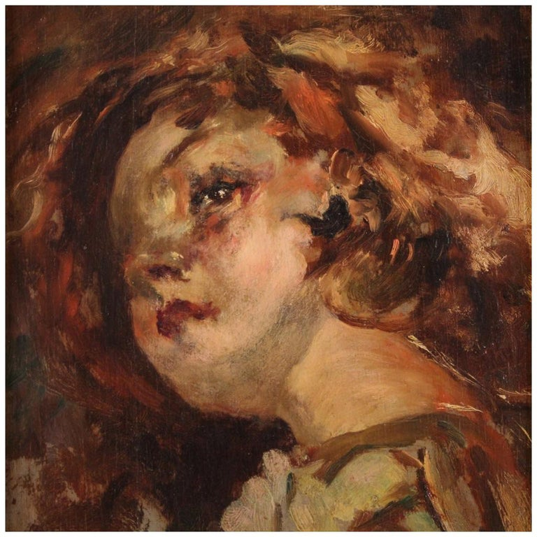 20th Century Oil on Panel Italian Painting Portrait of a Little Girl, 1910 For Sale
