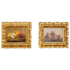 20th Century Oil on Panel Pair of Italian Still Life Paintings, 1920