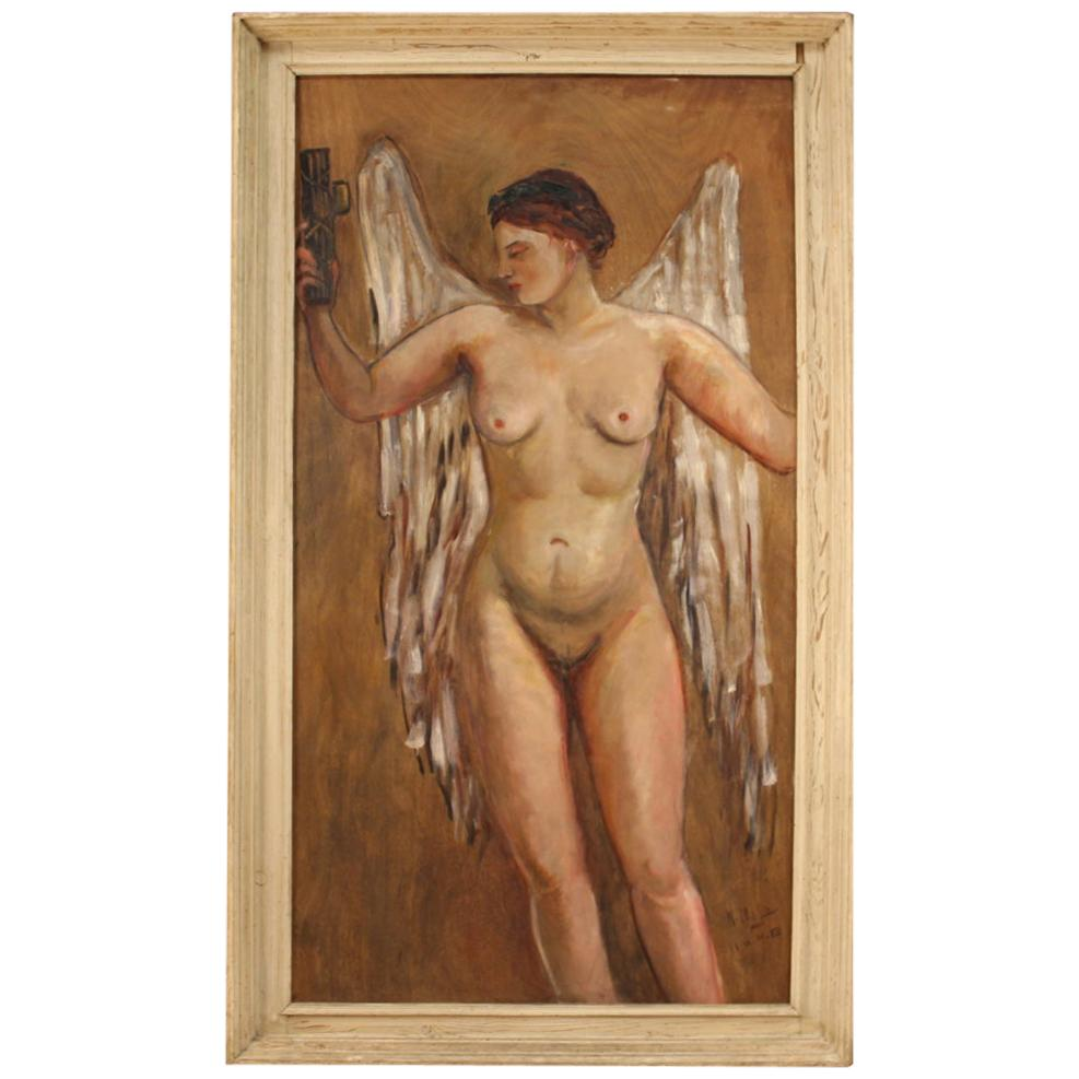 20th Century Oil on Plywood Dated and Signed Italian Painting Victory, 1936