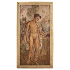 20th Century Oil on Plywood Italian Signed and Dated Male Nude Painting, 1938