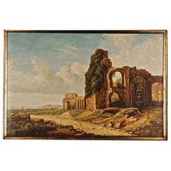 20th Century Oil Painting, Before the Fonatana the Porta Fulba