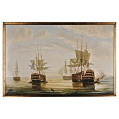 20th Century Oil Painting English Battleships in Coastal Waters