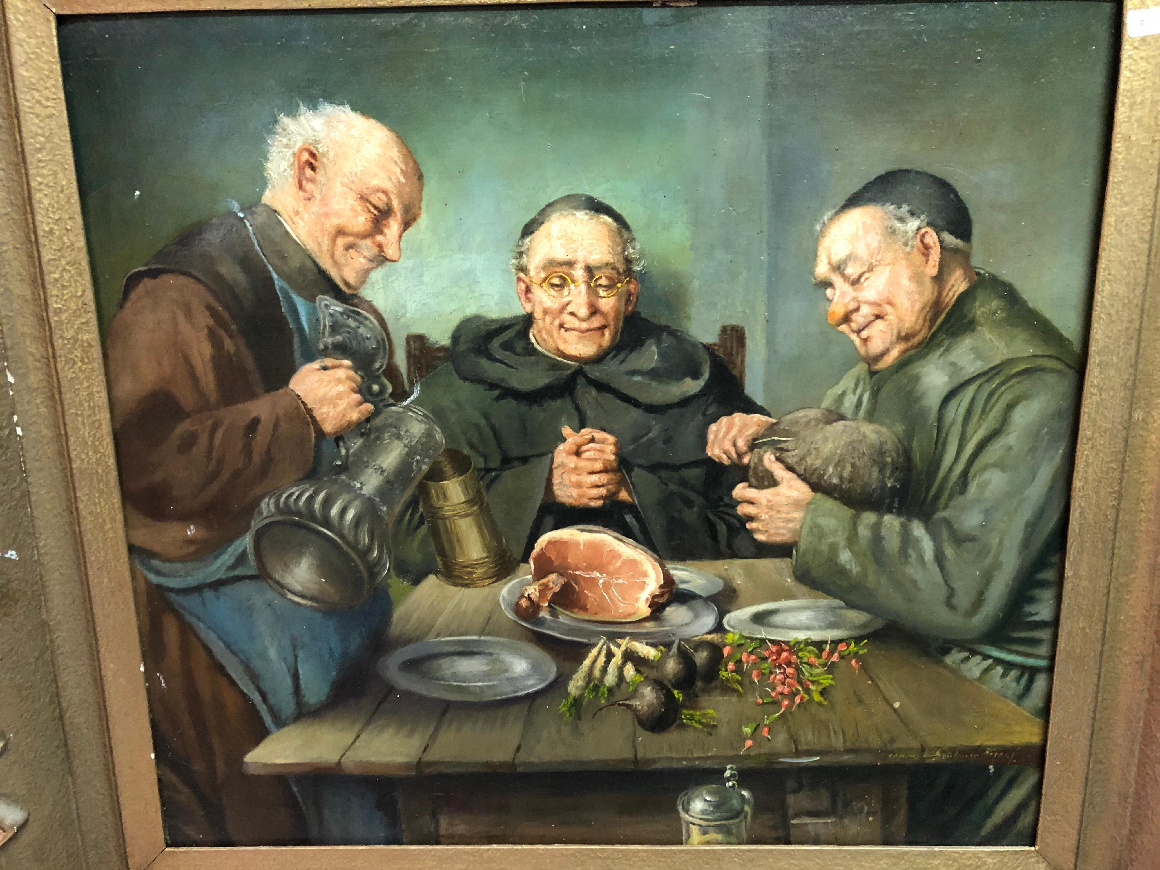 20th Century Oil Painting Of Dining Monks In The Wine Cellar Monastery