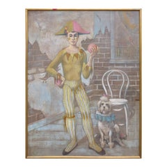20th Century Oil Painting of Harlequin with Poodle, Signed Childers