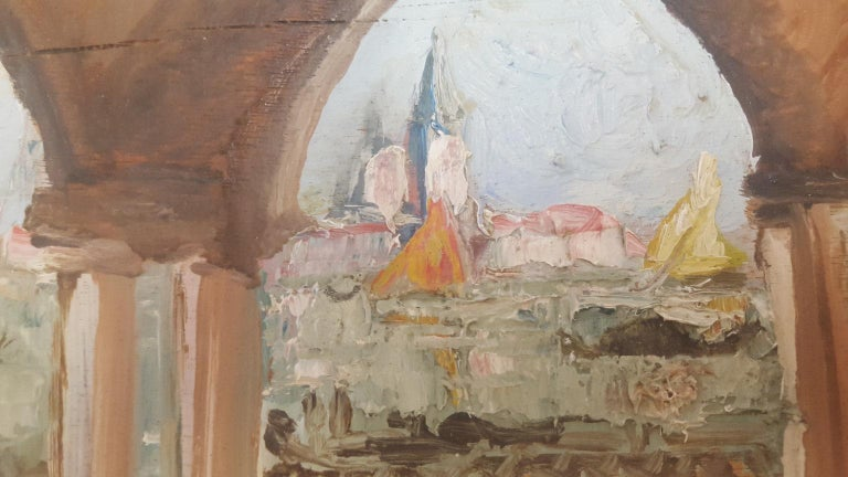 Italian 20th Century Oil Painting on Wood Board of Venice, Italy, Signed on the Reverse For Sale