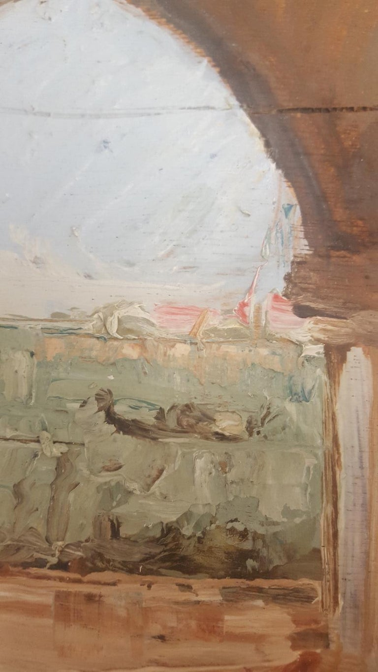 20th Century Oil Painting on Wood Board of Venice, Italy, Signed on the Reverse In Good Condition For Sale In Van Nuys, CA