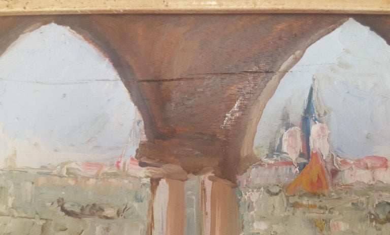20th Century Oil Painting on Wood Board of Venice, Italy, Signed on the Reverse For Sale 1