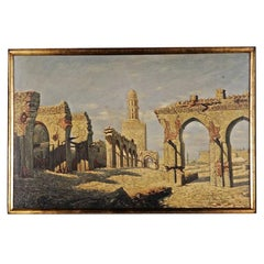 20th Century Oil Painting oriental Ruins of the Hakim Mosque in Cairo