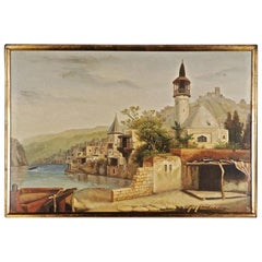 20th Century Oil Painting Oriental Scene Architecturally Finely Designed Mosque