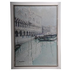 20th Century Oil Painting View from Venice Gondolas Oil of Canvas