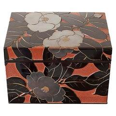 20th Century Okabe Keizo Japanese Carved Lacquer Tea Box, 1940