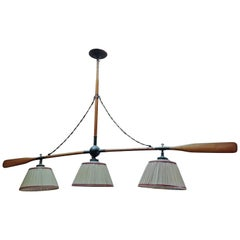 20th Century Old Wood Paddle Italian Three Lights Chandelier