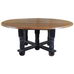 20th Century Old World Reclaimed Pine Country Farmhouse Round Dining Table