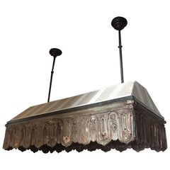 20th Century Old Zinc Decoration with Fabric Italian Adjustable Ceiling Lamp