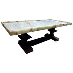20th Century Onyx Stone and Wood Center Table, Spain