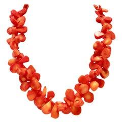 "20th Century Orange Coral ""Teardrop"" Bead Choker Necklace"